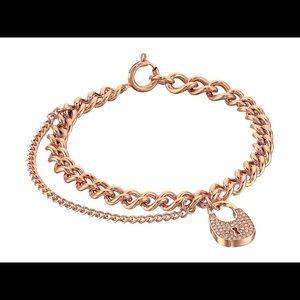 NWT Michael Kors Padlock Rose Gold Bracelet